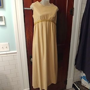 Vintage 60s 70s Gold Evening Cocktail Gown